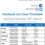 Virtually Fresh FB Live Timetable